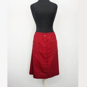 Vintage 90s Maroon 18 Snap Button Front Midi Skirt